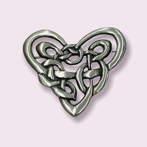 """Rare Cynthia Webb Celtic Heart Brooch Pewter -Excellent Condition 1-7/8"""" x 1.75"""""""